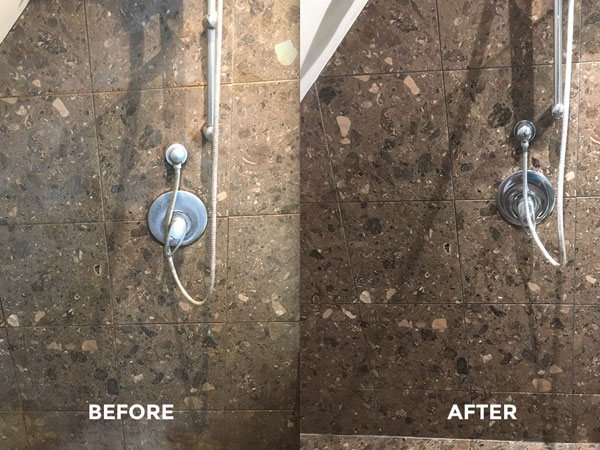Canny Residential Natural Stone Shower Wall 2 Before and After